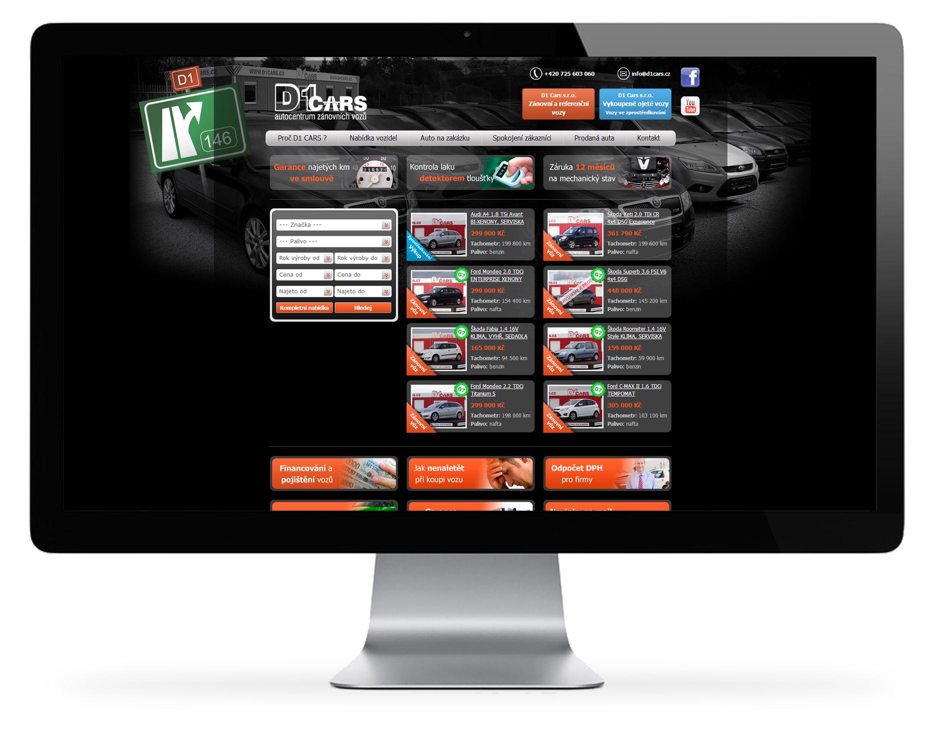 D1 Cars – web autocentra zánovních vozů